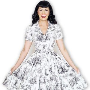 EUC Small Black and White Toile Lauren Dress